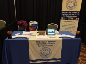 AJHS-NEA booth at the Association for Jewish Studies conference, December 2013