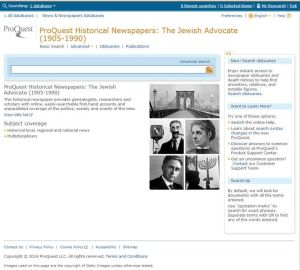 The homepage of the Jewish Advocate database