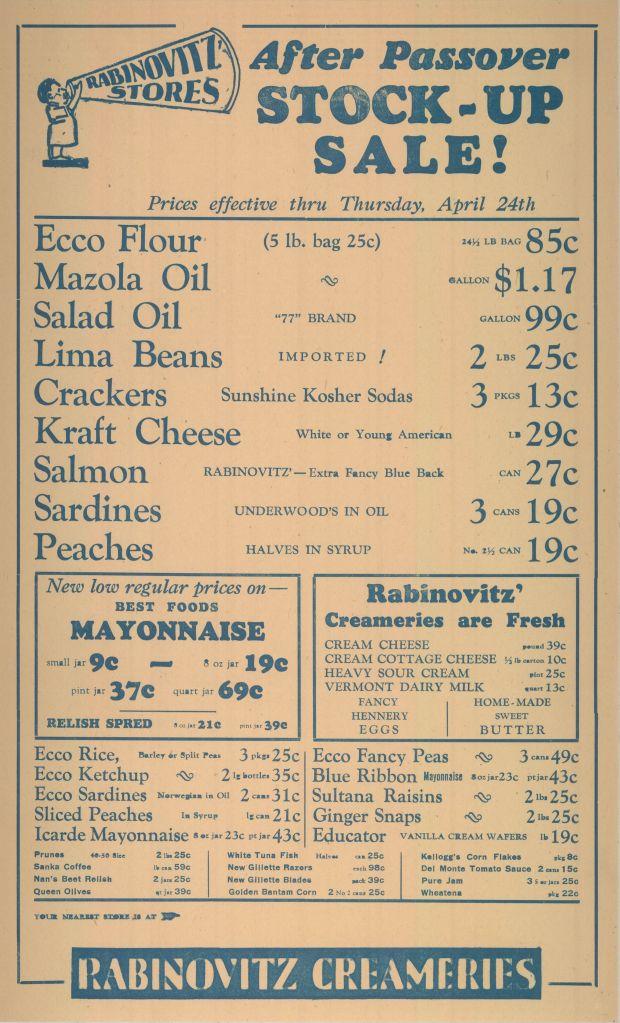 Rabinovitz Creameries advertisement